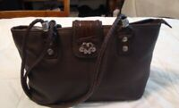 M.C. Marc Chantal MC Brown Leather W/ Brown Croc Shoulder Hand Bag Purse * EUC *