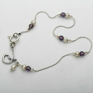 New Shablool Jewelry Aristocratic Anklet 925 Sterling Silver Pearl Round White