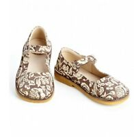 new girls PePe Brown Floral Mary Janes shoes 24/ us 8  leather made in Italy