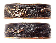 Antique Japanese Fuchi Dragon Waves Sword Fitting Tsuka Handle Koshirae Samurai