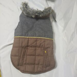 Top Paw Dog brown and grey Faux Fur Trim Quilted Jacket Coat size M
