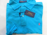 NWT Polo Ralph Lauren Aqua BLUE Mesh Knit Short Sleeve Polo Sz 2XB Big