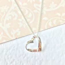 Stirling Silver ribbon  heart necklace.GIFT  bridesmaid.Birthday. Personalised