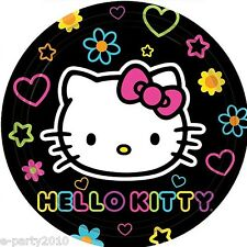 HELLO KITTY Neon Tween SMALL PLATES (8) ~ Birthday Party Supplies Cake Dessert