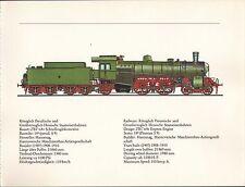 VINTAGE RAILWAY GERMAN TRAIN ENGINES PRINT KONIGLICH PREUSSISCHE GROSSHERZOGLICH