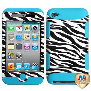iPod Touch 4th Gen Teal Blue / Black Zebra Hard & Soft Rubber Hybrid Impact Case