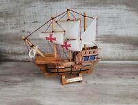 Vintage Wood Santa Maria  Sail Boat Tall 3 Mast Ship Figure Sailboat Nautical