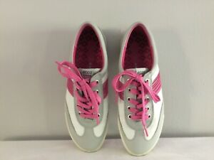 Womens ECCO Hydromax Pink & White Leather Golf Shoes, VERY nice! Sz 38 or 7.5