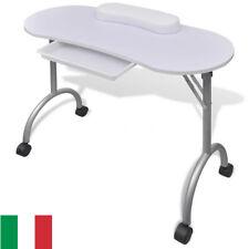 Tavolo Pieghevole per Manicure Ricostruzione Unghie con rotelle Bianco Nuovo NEW