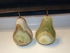 VINTAGE STONE AGATE~MARBLE PEAR FRUIT DECOR FIGURINE PAPERWEIGHTS