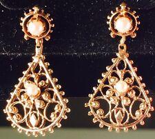 Antique Victorian Pearl Dangle Drop Earrings 14K Yellow Gold Pierced Screw Back