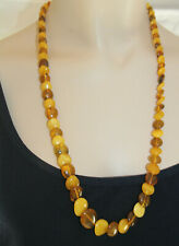 Amber Graduated Two Tone Bead Necklace 25-3/4 Inches Long Salt Water Tested