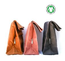 Canvas Lunch Bag waxed and organic( Pink and Grey colors) ships without any plas