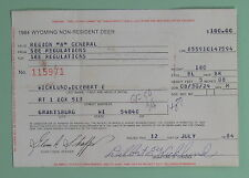 1984 Wyoming Non Resident Deer Hunting License Tag.Free Shipping!