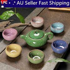 7Pcs Colorful Vintage Ceramic Chinese Crackle Tea Set Teacup Teapot Porcelain