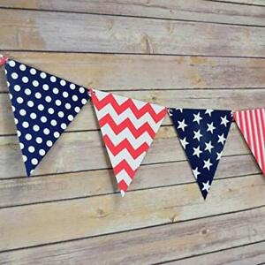 Quasimoon 4th of July Red, White and Blue Triangle Flag Pennant Banner (11FT)...