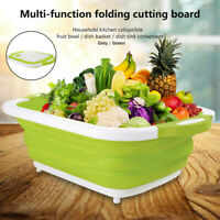 2 In1 Kitchen Multifunctional Folding Vegetable Basket Portable Cutting Board