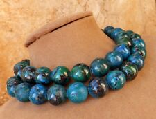 AZURITE MALACHITE TURQUOISE BEAD NECKLACE BLUE ISH GREEN CHUNKY STATEMENT JEWELS