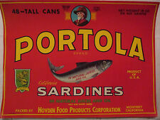 Vintage Portola Brand Sardines Large Can Label