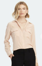 Equipment Femme Button Down Signature Blouse in Nude 100% Silk Shirt Size M $230