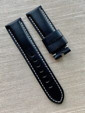 24mm Panerai OEM Black Leather Calf Strap Band PAM Slightly Used 22mm @ buckle