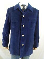 CORTEFIEL blue velvet gold button vintage 70s shirt jacket 44 LARGE
