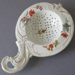 Antique Porcelain TEA STRAINER Colorful Scattered Dresden Style FLOWERS Gilt Trm