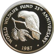 elf Cayman Isl 5 Dollars 1987 Silver Proof World Wildlife Fund   Amazon Parrot