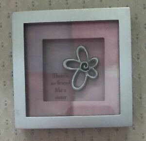 Silver Framed Shadowbox-'There's no friend like a sister' in Pinks/Purples/Silve