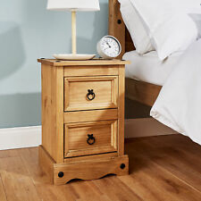 Corona Pine Bedside Cabinet 2 Drawer Bedroom Drawers Side Table Nightstand Waxed