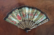 Vintage Lady's Hand Fan Black & Gold with Lace Trim and Garden Scene Fabric