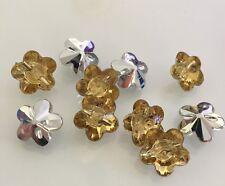 10 X Petrol Coloured Acrylic Rhinestone Flower Buttons - Australian Supplier