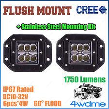 2x 24W CREE FLUSH Mount LED Light FLOOD Beam Custom Work 4WD Ute Canopy Tray
