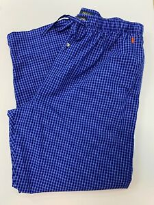 Ralph Lauren Polo Men's Blue Check Lounge Pajama Pants: XL, Pockets, Pony