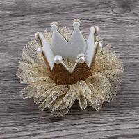 Baby Girls Crown Princess Hair Clip Solid Gold Yarn Glitter Lace Pearl Headband