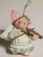 Vintage Enesco This Little Piggy Angel in Green Dress Violin Christmas Ornament