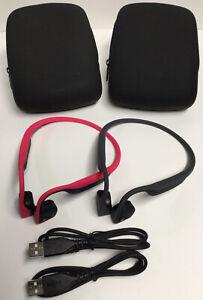 2 Pairs of AfterShokz Trekz Titanium Wireless Bone Conduction Headphones & Cases