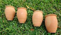 Jarritos/Cantaritos de Barro. Mexican Ethnic Clay cups. Set of 4