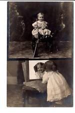 AZO 1904-1918 RPPC dual image baby boy w/ gun girl  looking pretty mirror