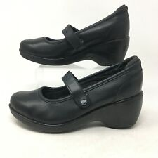 Crocs Ginger Mary Jane Wedge Heel Comfort Shoes Pumps Leather Black Womens 7W