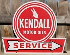 KENDALL+MOTOR+OILS+SERVICE+PORCELAIN+SIGN+GAS+%26+OIL+HOT+ROD+SIGN