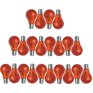 4x 8x 10x 40w / 60w BC B22 RED FIREGLOW STANDARD BAYONET GLS LIGHT BULBS LAMPS