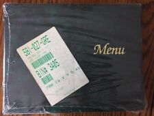 "Lot of 12 *New Old Stock* Single Fold 6"" X 9.5"" Green Vinyl Menu Covers-"