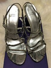 STUART WEITZMAN Silver Cosmic Serpent Snake Leather Strappy Sandals Size 10