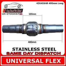 Universal Exhaust Flex Pipe Stainless Steel Flexi 42 IDx45 IDx48 ID 400mm Long