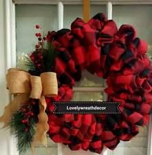 Handmade buffalo plaid and burlap ribbon Christmas wreath  Great Christmas Gift