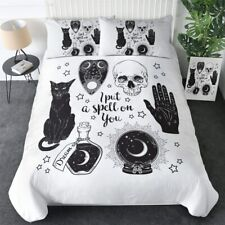 Skull Spell Witchcraft Black King Queen Twin Quilt Duvet Pillow Cover Bed Set
