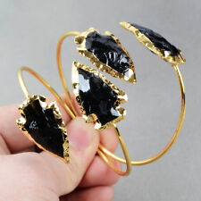 Wholesale 5Pcs Arrowhead Black Obsidian Adjustable Bangle Gold Plated HOT BG0527