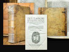 1567 Greek Printing magnifico cerdo cuero volumen 2 en 1 Homer y Plutarco