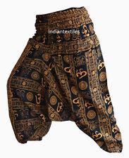 INDIAN ALI BABA COTTON YELLOW OM PRINT YOGA WOMAN PANT TROUSER GYPSY BOHO HIPPIE